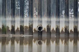 Passaic River bulkhead drain in Belleville, N.J.
